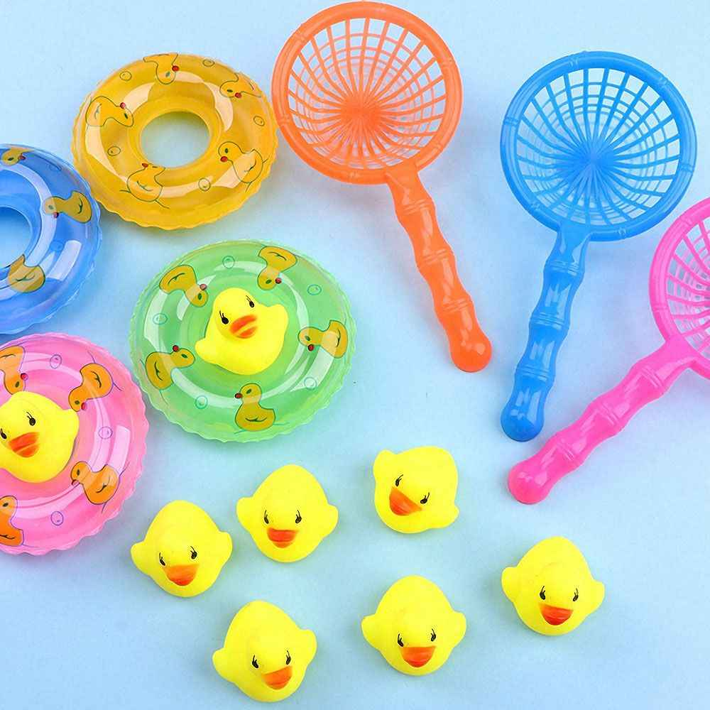 5 Stks/set Kids Floating Bad Speelgoed Mini Zwemmen Ringen Rubber Gele Eenden Vissen Netto Wassen Zwemmen Peuter Speelgoed Water Fun