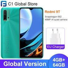 Versão global xiaomi redmi 9t celular 4gb ram 64gb/128gb rom snapdragon 662 bluetooth 5.0 6000mah 48mp câmera traseira