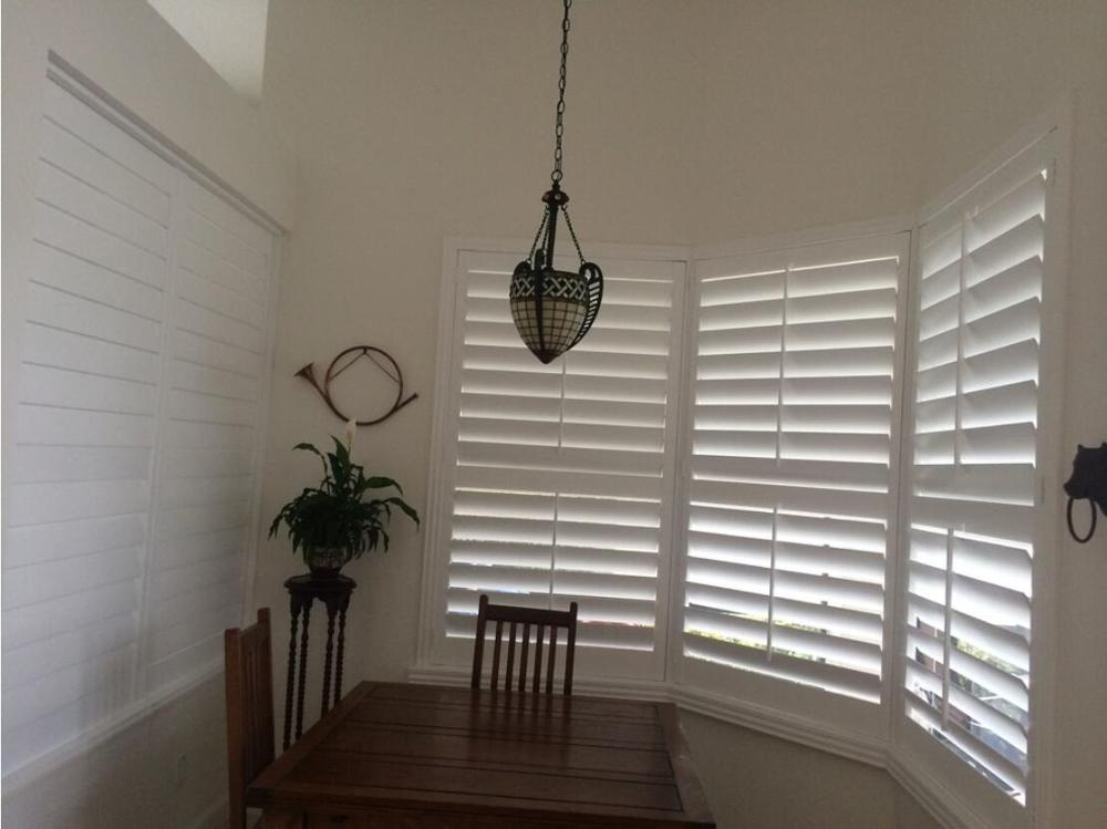 Custom Basswood Plantation Shutters Wooden Blinds Solid Wood Shutter Louvers PS285