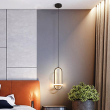 Nordic Led Bedside Lamp Pendant Lights Ring Black Bedroom Bar Counter Home Decor Indoor Lighting Lustre Salon Scandinavian Style