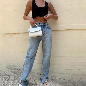 MosiMolly 2020 sprane dżinsy spodnie dżinsy damskie dżinsy typu Boyfriend Casual spodnie Split długie spodnie dolne czarne dżinsy tanie i dobre opinie COTTON Pełnej długości CN (pochodzenie) Osób w wieku 18-35 lat DQ016 Na co dzień Zmiękczania Wysokiej Zipper fly Kieszenie