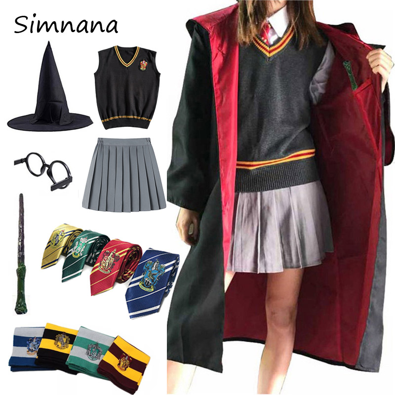 Kids Adults Potter Cosplay Costume Hermione Granger Outfits Magic Robe Cape Skirt Potter Cosplay Clothes Accessories Gift