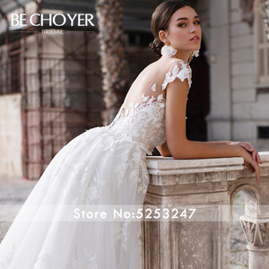 Image 4 - Mode Abnehmbare Zug Hochzeit Kleid BECHOYER K149 Appliques Spitze 3D Blumen Meerjungfrau Illusion Braut Kleid Vestido de Noiva