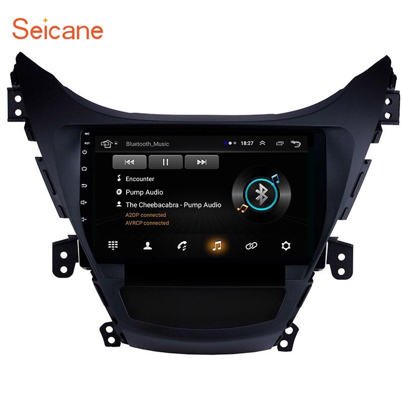 Seicane Android 8.1 9 pouces GPS Navi Bluetooth pour 2011 2012 2013 Hyundai Elantra autoradio avec 1080P DVR commande au volant