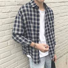 Fashion Plaid Flannel Plaid Shirts for Men Oversized Long Sl