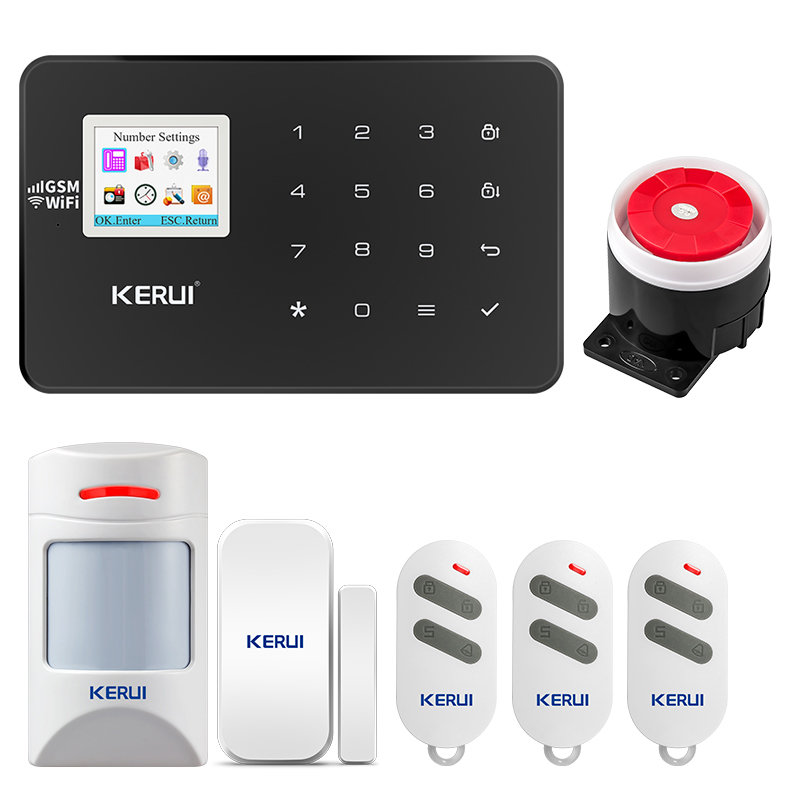 KERUI W18 wireless home sicherheit alarm Wifi GSM system APP control pet infrarot remote alarm kombination kit