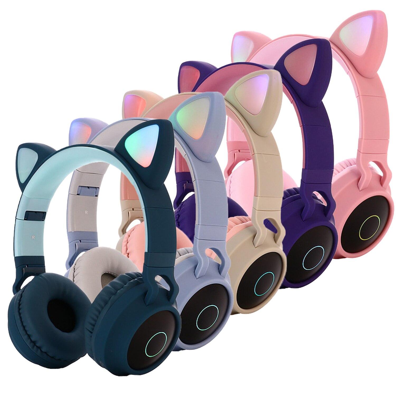 Cute Foldable LED Light Cat Ear Over-Ear Wireless 5.0 Bluetooth Headphones Adjustable Earphone Headset New Year Christmas Gift