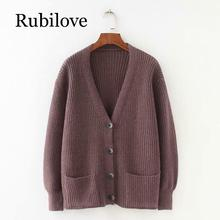 Rubilove 2019 Women Cardigans Sweater V neck Solid Loose Knitwear Single Breasted Casual Knit Cardigan Outwear Winter Jacket Coa