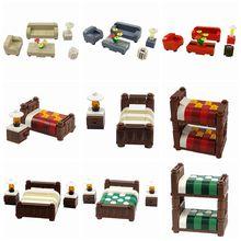Bloques de construcción compatibles con el fabricante de muebles de bloqueo, cama individual, bloques de construcción DIY, juguetes de bloques para niños, juguete MOC