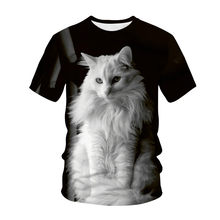 2021 new cute cat 3D printing T-shirt men and women hip hop street clothing animal pattern casual fashion