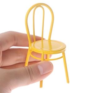 Кукольный домик, миниатюрная мебель, металлический стул, кукольный домик, аксессуары, DIY игрушки для детей 1/12