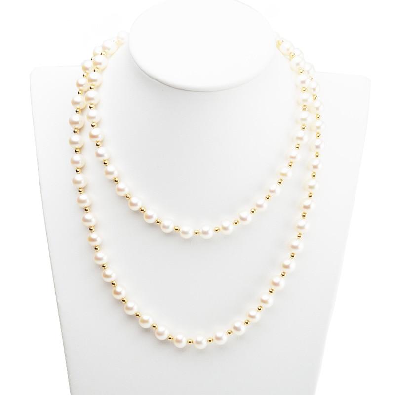 MADALENA SARARA 8-9mm AAA collier de perles d'eau douce près de forme ronde blanc perle brin 30
