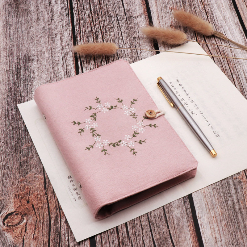 2020 A5 A6 Kawaii Cute Cloth Dotted Notebook School Office Stationery Blank Line Grid Dots Planner 6 Holes Spiral Ring Binder