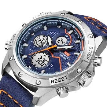 цена Men's Army Military Watch Man Quartz Clock Relogio Masculino Luxury Brand Men Analog Digital Leather Sports Watches онлайн в 2017 году