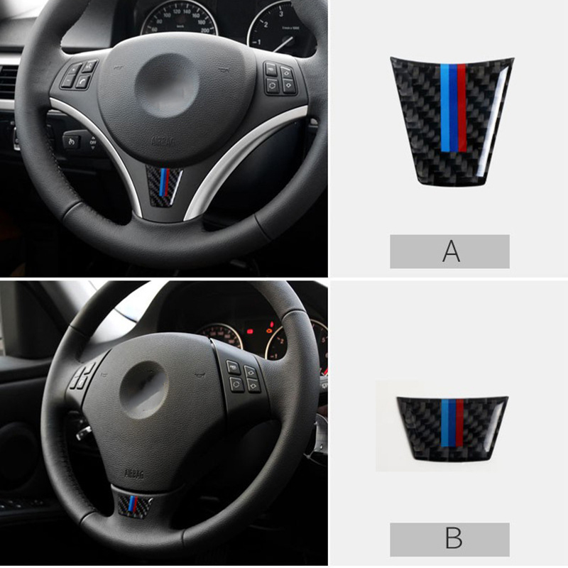 Carbon Fiber Styling Steering Wheel Decoration Trim Sticker Interior Accessories For BMW 3 Series E90 E92 Car Styling Decoration