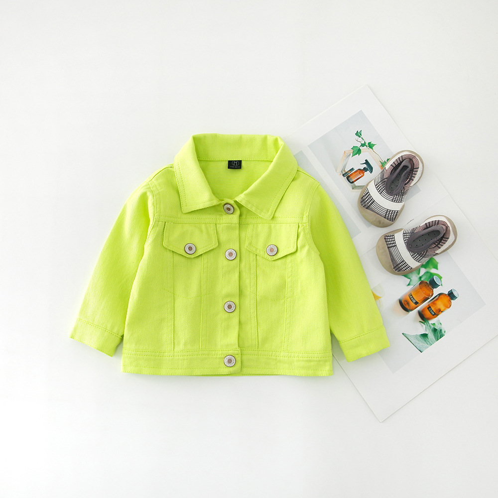 H442192e98dbe4ce1a67bdfa5ba3b5a97A - Brand New Baby Girls Boys Candy Color Denim Jacket Kids Cotton Casual Jeans Jackets Children Clothes 1-10age