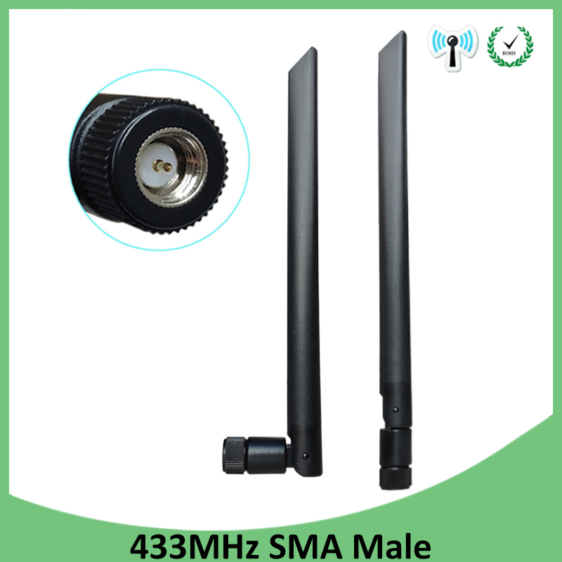 2pcs 433Mhz Antenna 5dbi SMA Male Connector 433 MHz Directional Antena Rubber Aerial Wireless Repeater Lorawan Antenne 433m