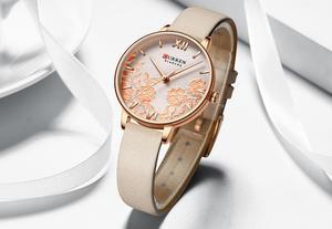 Image 5 - CURREN Uhr Frauen Exquisite Floral Design Uhren Mode Lässig Quarz Dame Uhr frauen Wasserdichte Weibliche Uhren