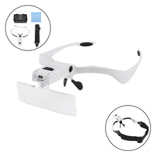 3.5X 5 Amplification Ratio Adjustable  Interchangeable Lens Headband Eyeglass Magnifier with LED Lights and for Reading