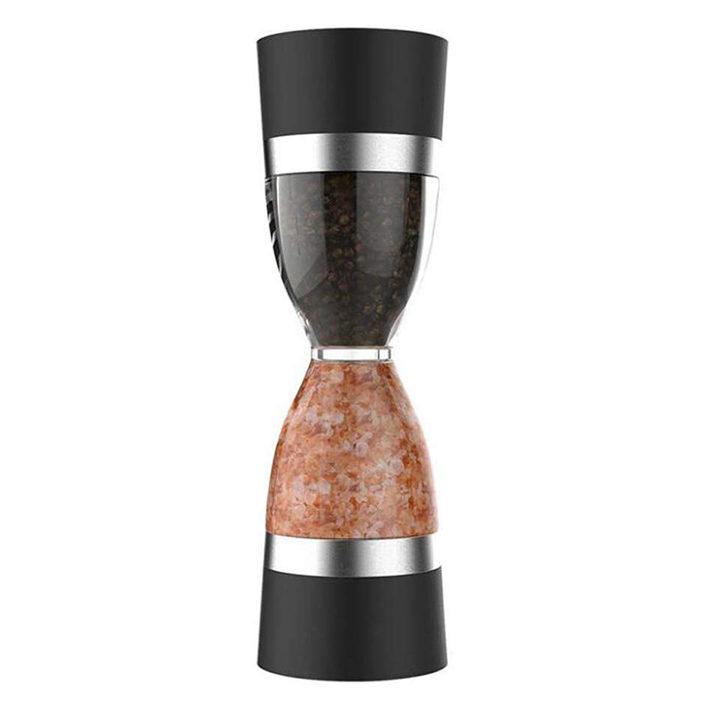 Modern Dual Manual Salt Pepper Grinder Hourglass Shape Clear Body Sea Salt Grinder Plastic Pepper Mill Cooking Tools Accessories(China)