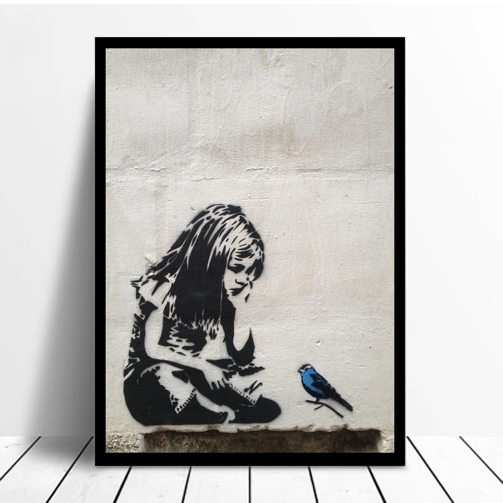 BANKSY Graffiti Street Art Girl With Blue Bird Posters and Prints Nordic Canvas Art Print Wall Pictures Wall Art Home Decoration
