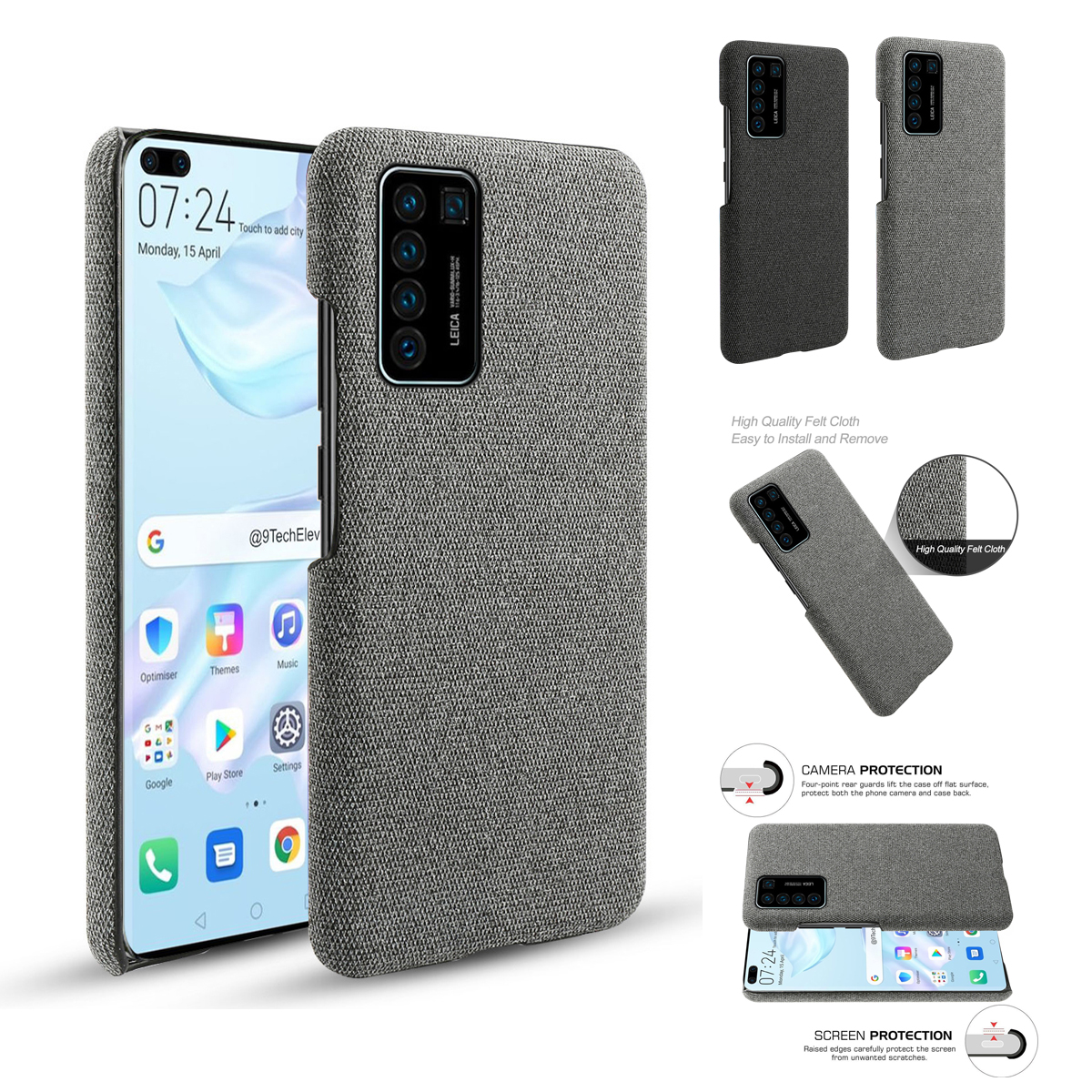 For Huawei P40 P30 P30 Lite Case Slim Retro Fabric Woven Cloth Anti-Scratch Hard PC Cover For Huawei P30 Pro Case Shockproof