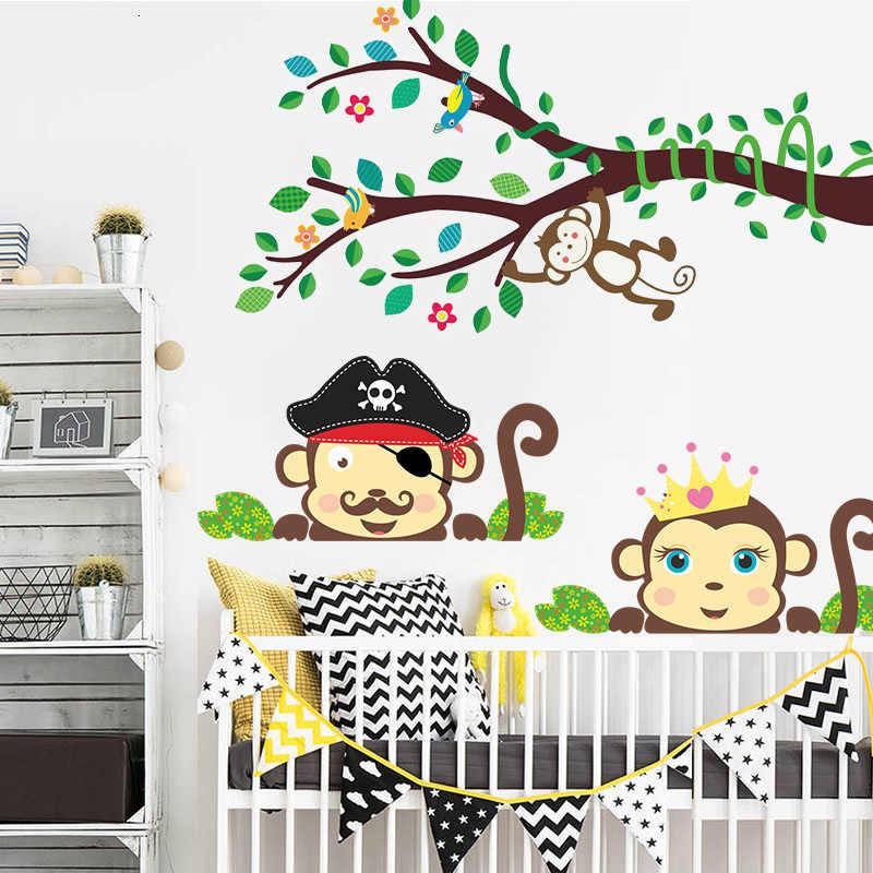 3D Джунгли Обезьяна Дерево декор обои лесные наклейки Дети украшение для детской