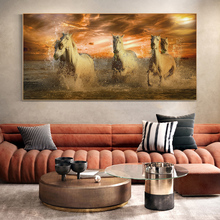 Running Horses on the Beach Wall Art Posters Animals Art Canvas Paintings On the Wall Decor Sunset Seascape Art Pictures Cuadros sunset horses pattern unframed decorative canvas paintings