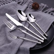 24Pcs 30Pcs Glossy Dinnerware Set 18/10 Stainless Steel Good Mirror Silver Cutlery Set Tableware Set Drop Shipping
