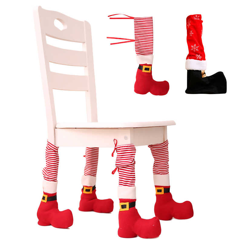 CHRISTMAS TABLE CHAIR LEG COVER SANTA CLAUS FOOT SHOES PARTY