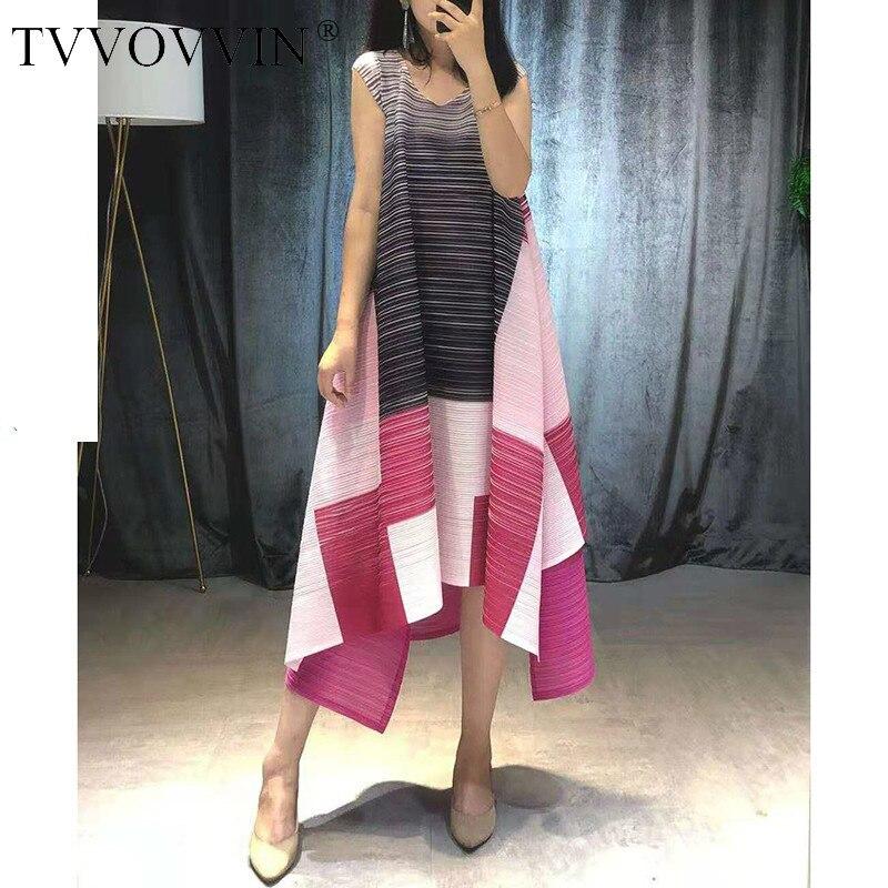 TVVOVVIN 2019 été haute qualité plissé vêtements pour femmes sans manches contraste couleur Patchwork irrégulière Niche robes V446