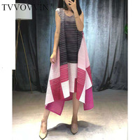TVVOVVIN 2019 Summer High Quality Pleated Clothes For Women Sleeveless Contrast Color Patchwork Irregular Niche Dresses V446