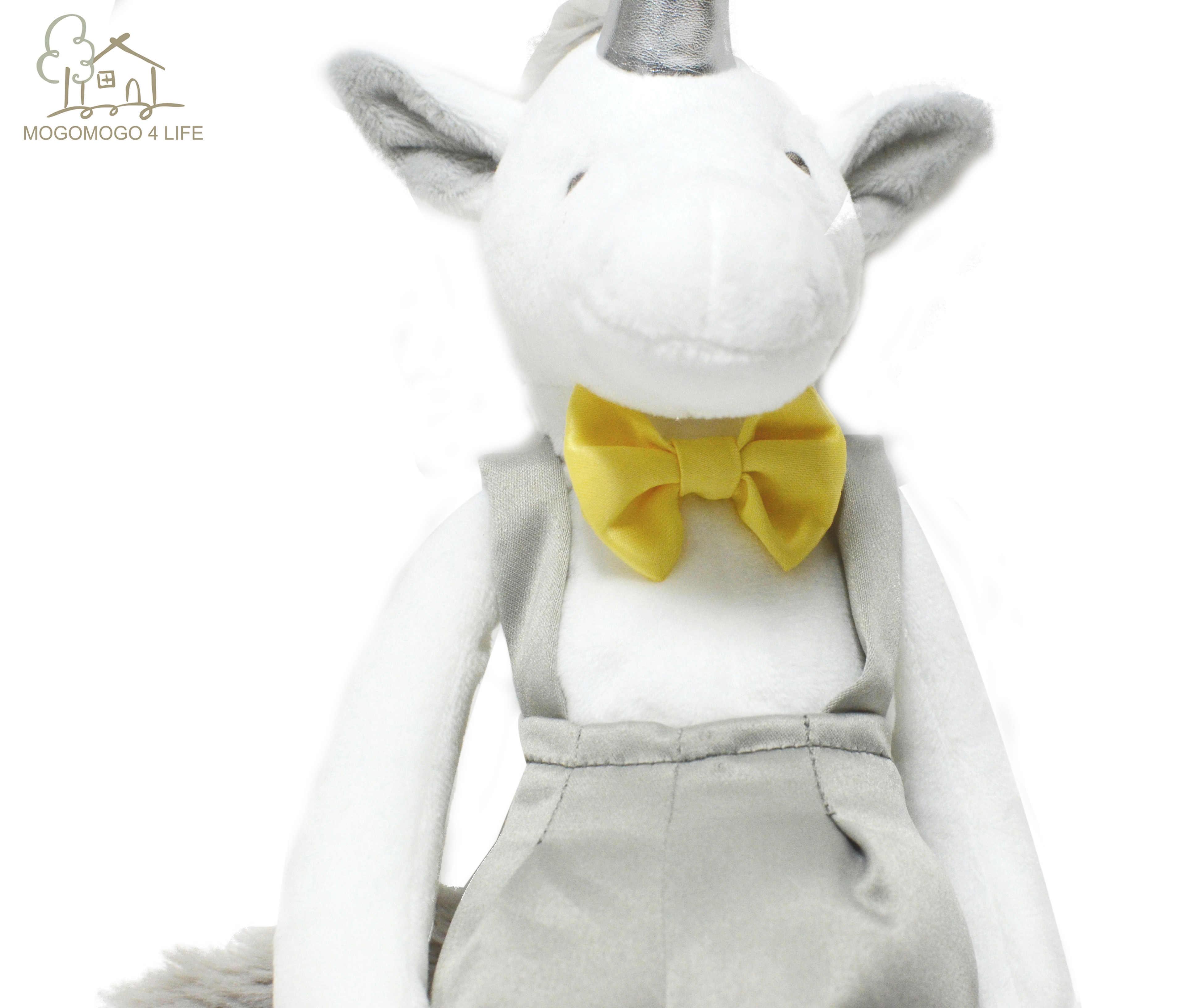 Luxury Unicorn เด็กของเล่นตุ๊กตาตุ๊กตาสัตว์เด็กวันเกิดของขวัญ Handmade Silver Horn ม้า Overalls Dressd Soft ของเล่น