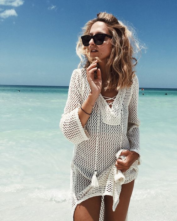 Hot Selling European And American-Style Knit Porous Chest Bandage Cloth Beach Skirt Holiday Dress Bikini Outer Blouse