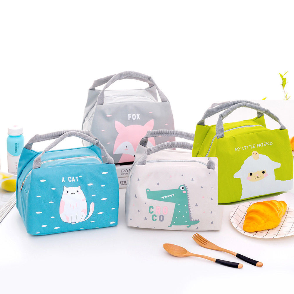 2019 New  Carton Lunch Bags Portable Insulated Thermal Cooler Bento Lunch Box Tote Picnic Storage Bag Pouch Fox Sheep Bear Print
