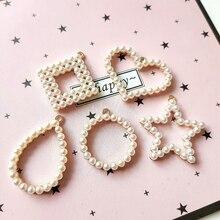 Simple temperament Geometric shapes Imitation pearls inlaid alloy  Earring Accessories diy accessories pendant 2pcs