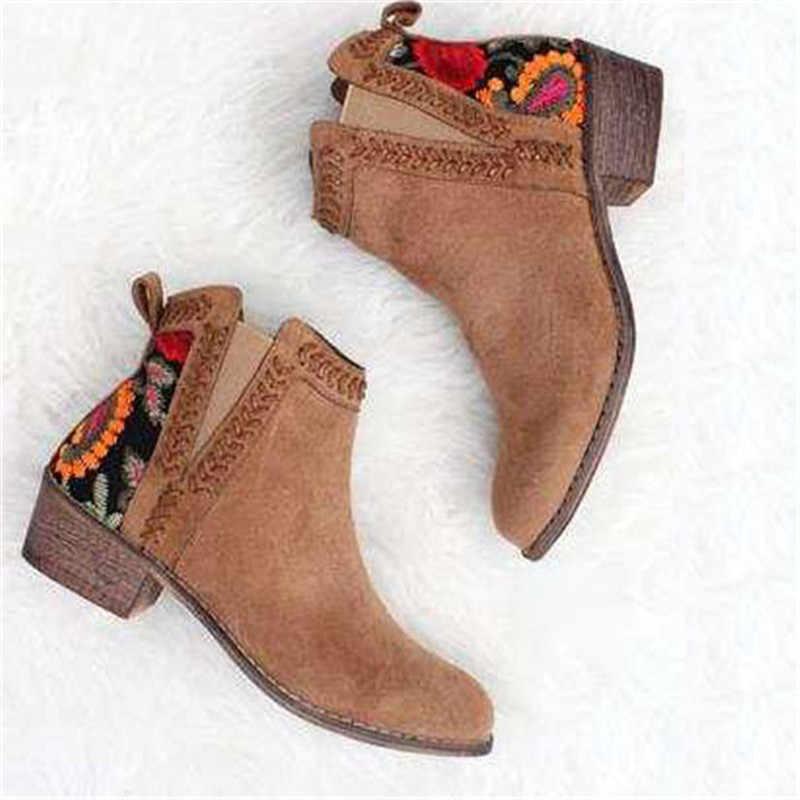 2019 baskı yarım çizmeler kadın sonbahar kış kadın kadınlar üzerinde kayma rahat yarım çizmeler platform ayakkabılar kadın Flats artı boyutu
