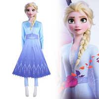 Nueva bailarina-2en Cosplay nieve Elsa adulta vestido de traje de Halloween Cosplay Elsa Anna traje princesa reina de hielo traje de Elsa conjunto completo