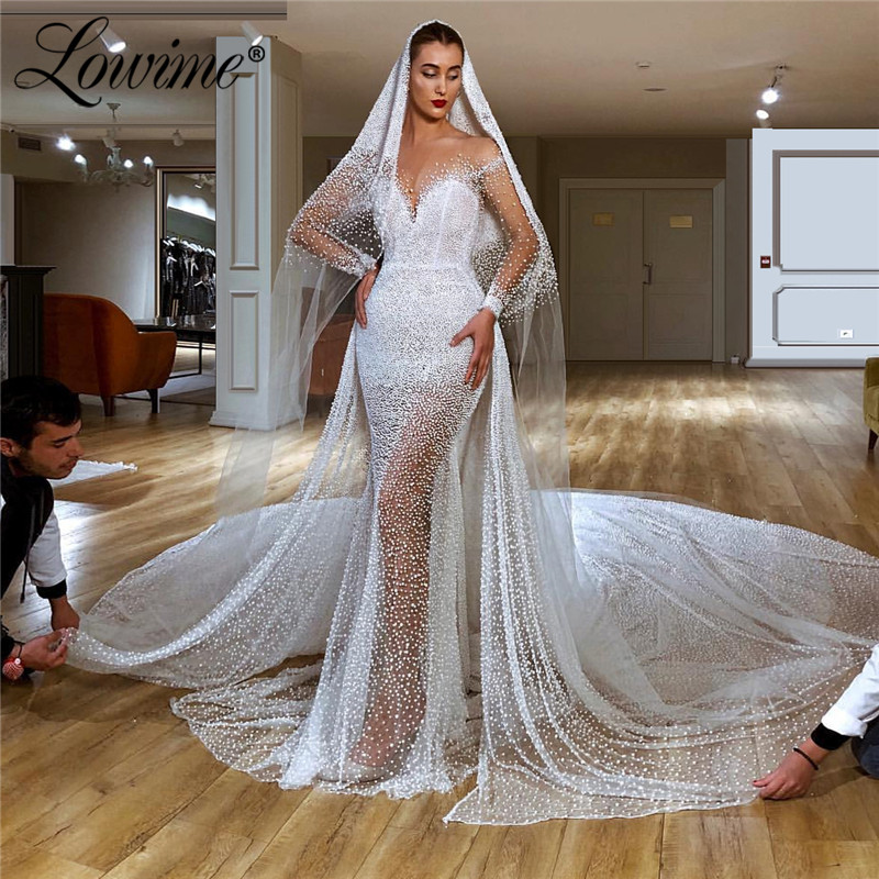 Pearls Illusion Wedding Dress 2020 Couture Mermaid Robe De Soiree Long Train Special Fabric Shinning Arabic Bridel Gowns