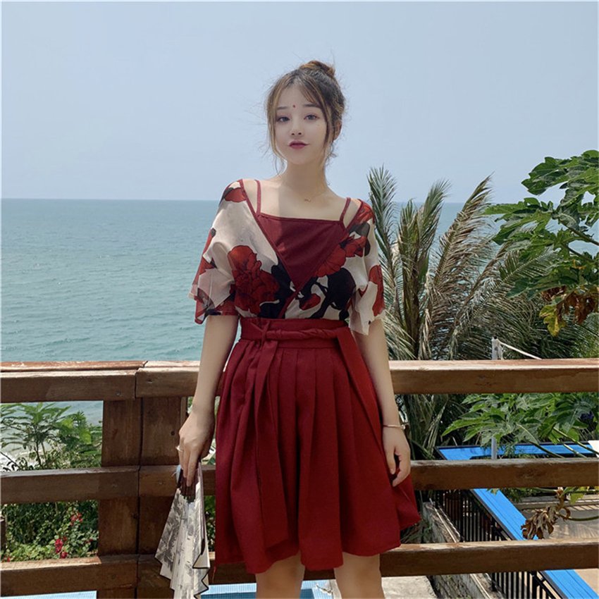 Japanese Style Kawaii Girls Kimono Haori Sling Skirts Outfits Traditional Floral Asian Clothes Yukata Dress For Women Vestidos