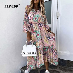 Summer Floral Print O Neck Boho Long Dress Women Autumn Lantern Long Sleeve Elegant Party Dress Sexy Loose Hem Beach Dresses 3XL