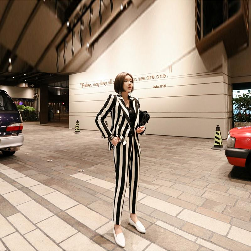 New fashion autumn women's OL professional temperament double-breasted fashion warm striped blazer slim pants two-piece set