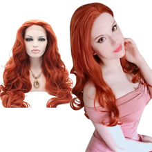 Anogol Heat Resistant High Temperature Fiber Hair Long Natural Wave Orange Auburn Copper Red Synthetic Lace Front Wig for Women