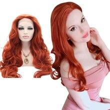 شعر طبيعي طويل من ألياف مقاومة للحرارة من Anogol باروكة أمامية من الدانتيل الأحمر الأحمر والبرتقالي أوبورن للنساء