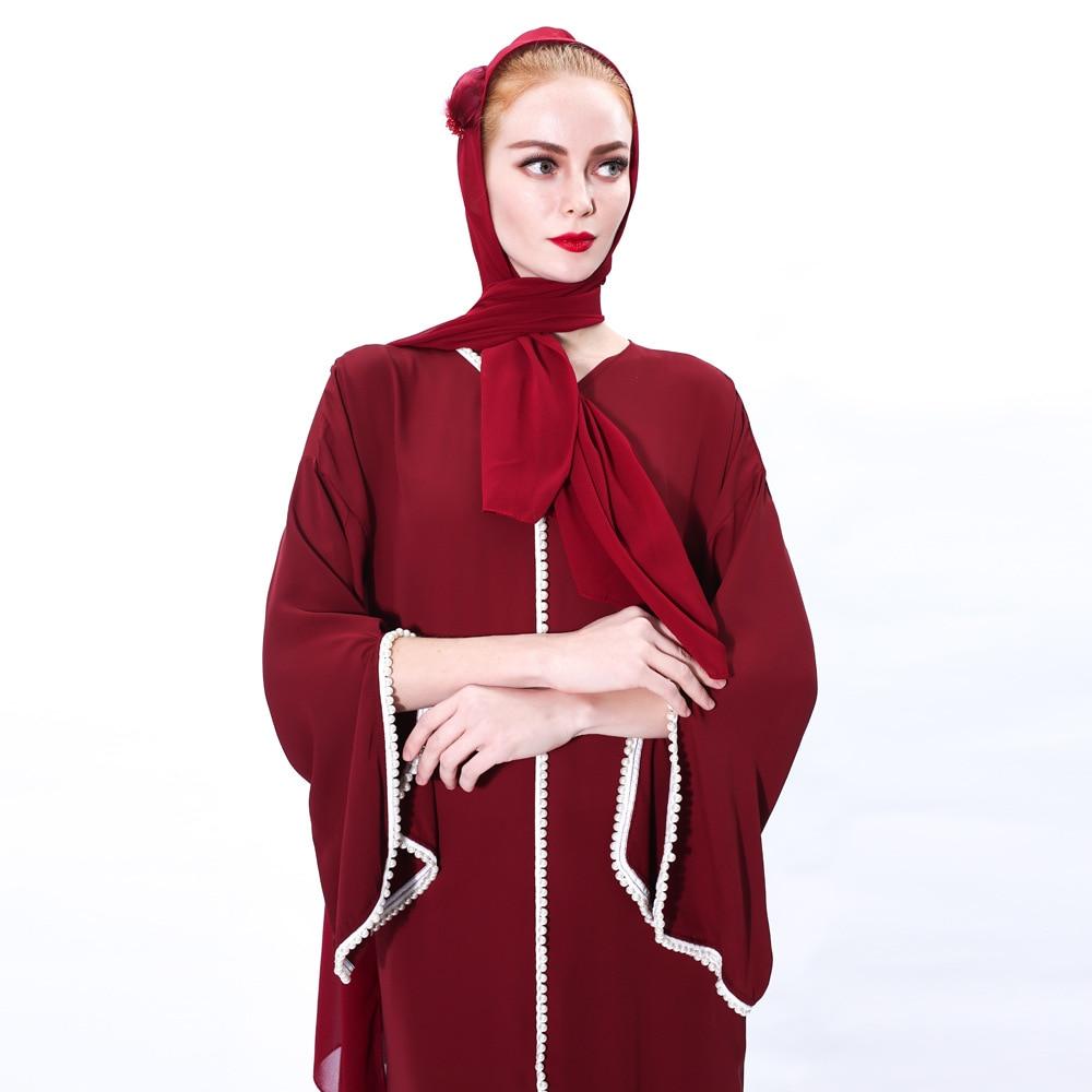 Muslim Fashion Hijab Dress Kaftan Islam Clothing Abaya Dubai Turkey Arabic Vestidos Robe Women V-neck Eid Mubarak Long Dress 3