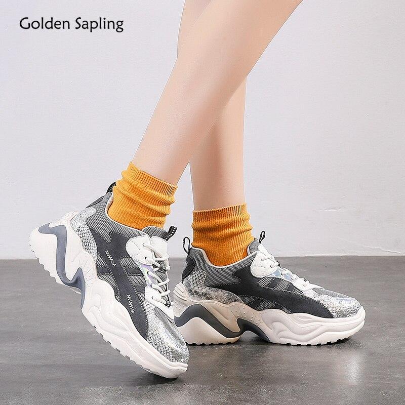 Golden Sapling Retro Platform Sneakers Women Summer New Running Shoes Breathable Air Mesh Women's Sport Shoe For Trainer Fitness