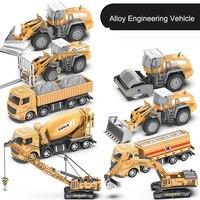 크레인 탱크 트럭 기계 자동차 다이 캐스트 1/32 굴삭기 시뮬레이션 지게차 건설 모델 트럭 선물 소년 트랙터 장난감
