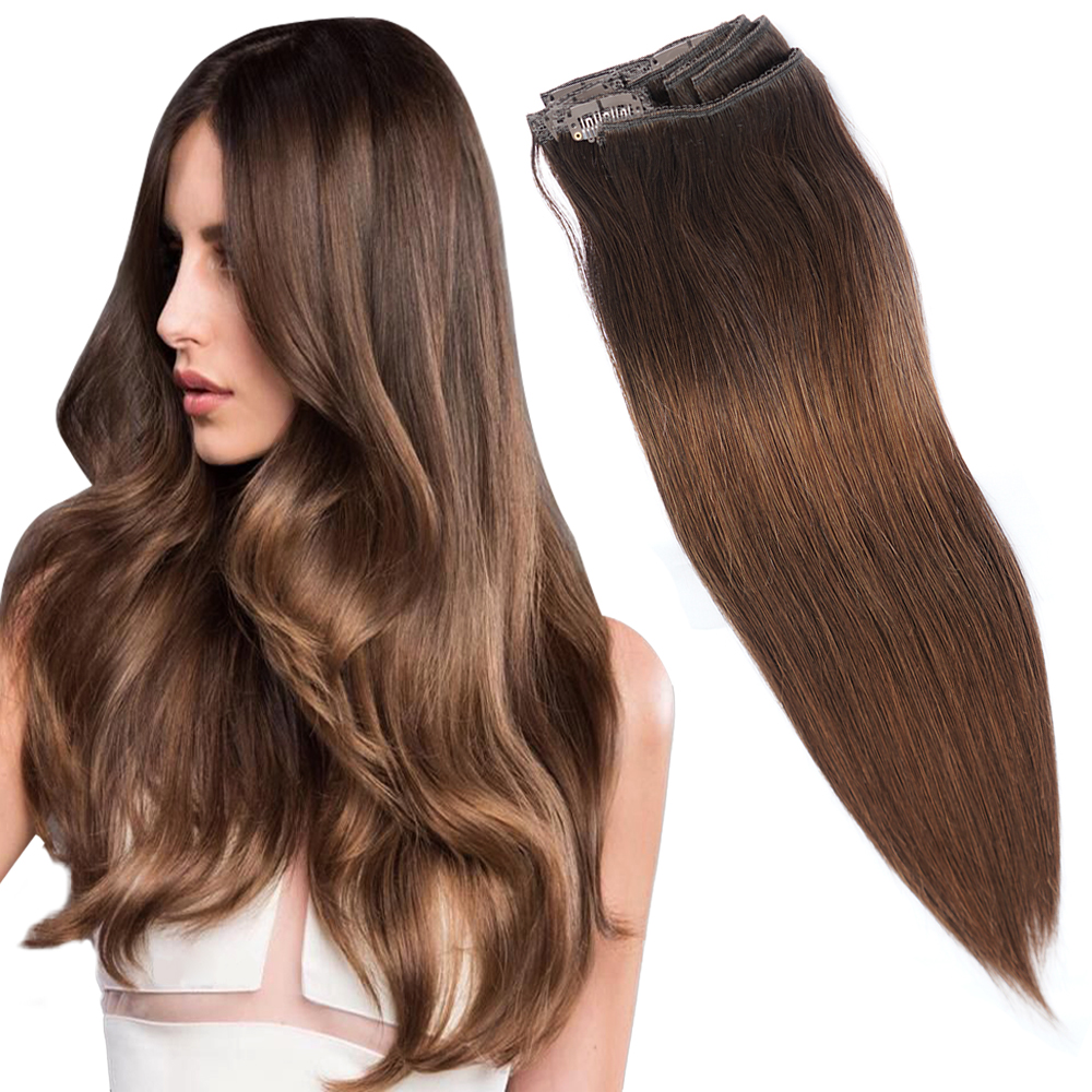 Doreen 160G 200G Brazilian Machine Made Remy T3/6 Ombre Brunette Brown Clip In Human Hair Extensions Full Head Set 10Pcs 16-22