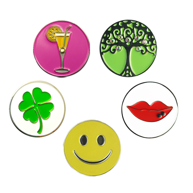 PINMEI Embossied Golf Ball Marks Pack Of 5 Golf Markers Golf Gifts For Lady Children Golfers Fit For Any Magnetic Golf Hat Clips