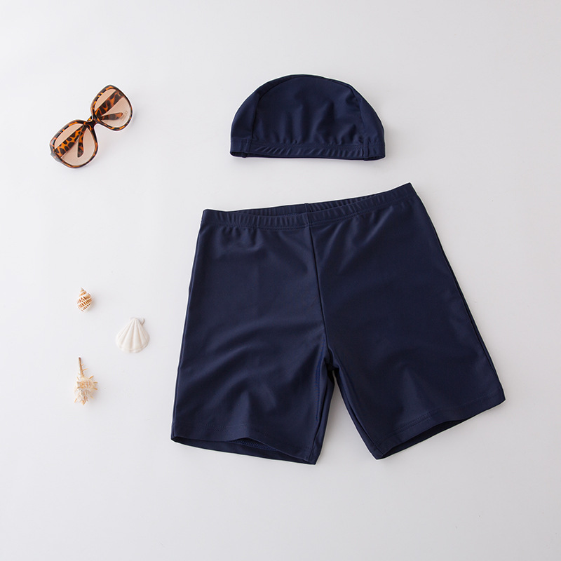 Short In Size Processing CHILDREN'S Swimming Trunks Kids Swimsuit BOY'S Boxer Swimwear Dark Blue Solid Color Beach Shorts